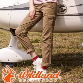 【Wildland 荒野 女款 彈性 SUPPLEX 可調節長褲 黃卡其 】0A31305-62/彈性長褲/抗UV長褲★滿額送