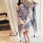 夏季棉麻披肩復古圖騰旅游度假防曬圍巾紗巾絲巾沙灘巾女 潔思米