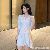 洋裝女夏裝新款小清新氣質Polo領短袖雪紡襯衫裙 居家物語