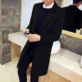 風衣男秋季青年韓版修身長款呢子外套潮流男士冬季中長款毛呢大衣 NMS陽光好物