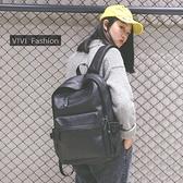 電腦包2021新款韓版學院風大容量PU皮雙肩包男女背包學生書包旅行電腦包