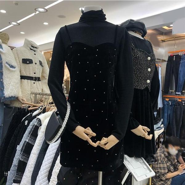 連身裙 2020秋冬高領打底衫金絲絨燙鉆a字收腰黑色吊帶洋裝兩件套裝女-年終穿搭new Year