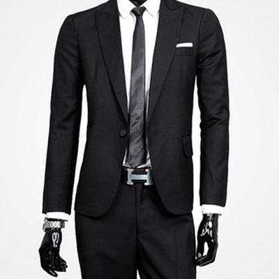 西裝套裝含西裝外套+西裝褲(二件套)-簡約商務素面設計男西服73hc5【時尚巴黎】
