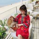 8052復古民族風紅色V領流蘇雪花刺繡連身裙ZLE518-A朵維思