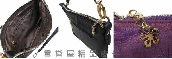 ~雪黛屋~COSA 斜側包100%進口牛皮革肩背斜側背手拿分類包拉鍊主袋隨身物品專用 CU760-12433S