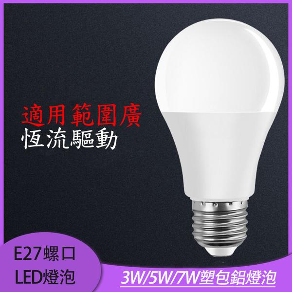 E27螺口110V燈泡 國際標準LED塑包鋁家庭照明高恆亮寬壓球燈泡3W/5W/7W