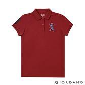 【GIORDANO】女裝勝利獅王漸層刺繡彈力萊卡POLO衫-05 標誌紅