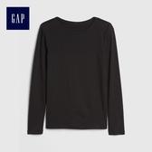 Gap女童 舒適小圓環邊飾圓領長袖T恤 499192-暗夜黑