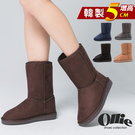 OLLIE雪靴 正韓製 百搭布標內增高 增高5cm中筒雪靴【F720005】5色 SD韓美鞋