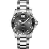 LONGINES 浪琴 深海征服者浪鬼陶瓷潛水機械錶-灰x銀/43mm L37824766