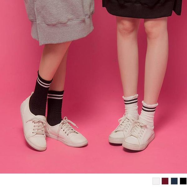 《ZB0482》韓國流行感潮流雙杠條紋襪 OrangeBear