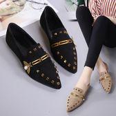 單鞋女尖頭平底鞋時尚百搭鉚釘淺口瓢鞋黑色工作鞋  瑪奇哈朵
