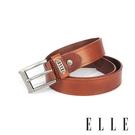 背包族【ELLE HOMME】品牌休閒皮帶/商務皮帶(淺咖啡)-基本款金屬方框