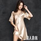 夏天新款睡裙女夏季睡衣薄款性感蕾絲短袖大碼洋裝寬鬆家居服 LR20797『麗人雅苑』