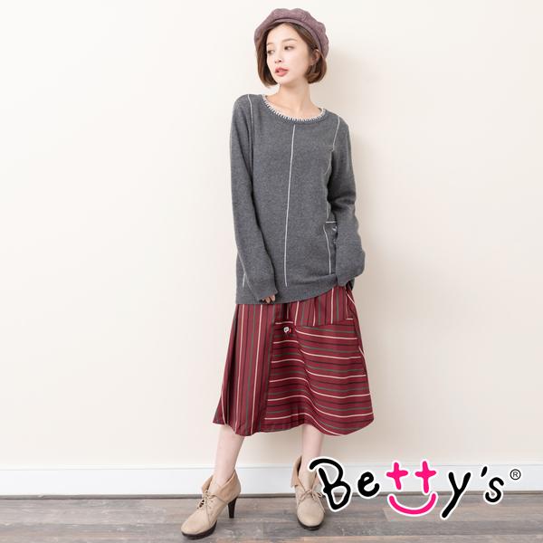 betty's貝蒂思 復古條紋拼接A字長裙(深紅)