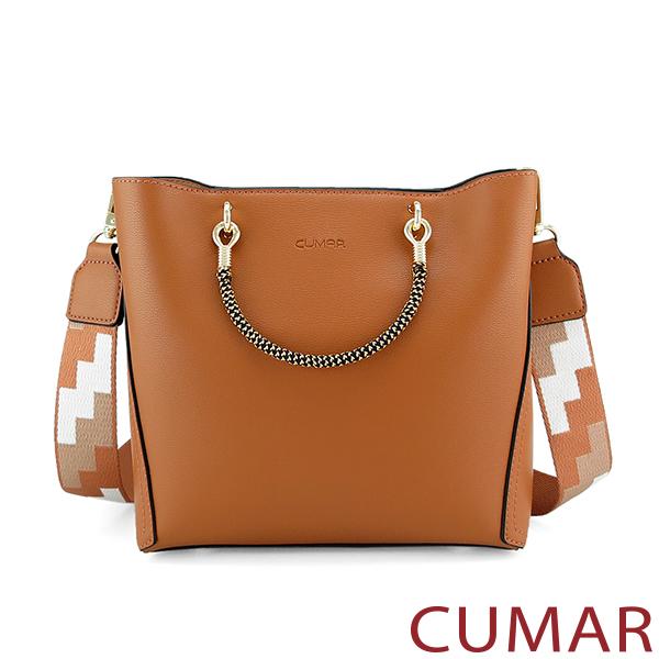 CUMAR  嬉皮幾何圖樣寬背帶小方包-棕色