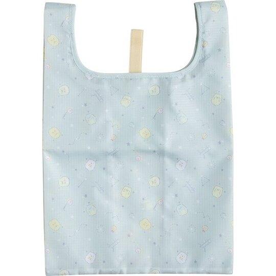小禮堂 角落生物 折疊尼龍環保便當袋 環保購物袋 餐袋 (淺藍 星星滿版) 4974413-76873
