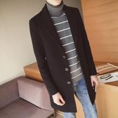 雙十二狂歡購風衣男中長款韓版呢大衣2018冬季新款男士毛呢加厚保暖呢子外套潮熊貓本