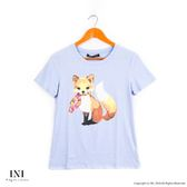 【INI 】活潑女孩、 舒適棉質可愛狐狸上衣.水藍色