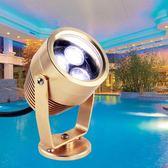 LED水底燈七彩噴泉燈水泳池防水射燈水下燈3W5W6W魚缸低壓燈24V  igo 『名購居家』