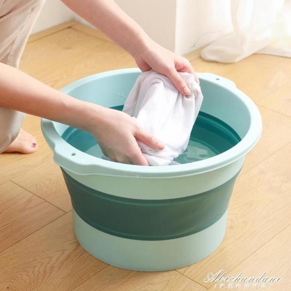 可摺疊足浴盆家用節省空間塑料按摩洗腳盆過小腿過膝高泡腳桶盆子 黛尼時尚精品