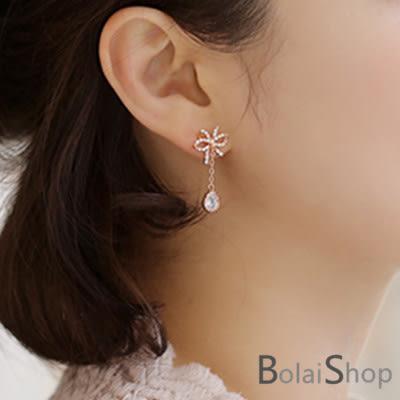 (現貨販售)無耳洞耳環一對 新款韓系蝴蝶結鏤空水鑽耳夾 ES0078系列【寶來小舖 BOLAI SHOP 】