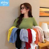 【V9206】shiny藍格子-香榭秋氛‧純色彈力顯瘦長袖毛針織衫