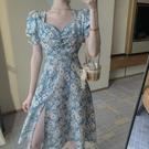 碎花洋裝 碎花連身裙女夏季法式小雛菊復古顯瘦中長款開叉雪紡裙子-Ballet朵朵