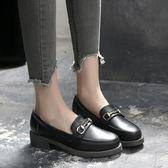 樂福鞋女韓版平底單鞋英倫一腳蹬小皮鞋女【南風小舖】