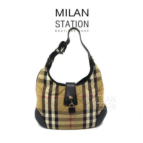 【台中米蘭站】BURBERRY格紋鋪棉縫線單肩背包