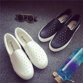 夏季鏤空帆布鞋女小白鞋平底一腳蹬女鞋懶人鞋樂福鞋學生白休閒鞋 【PINK Q】