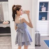 VK精品服飾 韓國風蝴蝶結系帶條紋襯衫吊帶寬鬆無袖洋裝