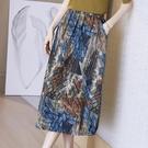 印花半身裙女裝2021夏季新款高腰中長裙寬松大碼復古民族風A字裙