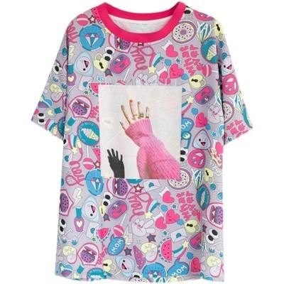 女士上衣 卡通膠印減齡T恤大碼L-5XL寬松顯瘦圓領短袖上衣女NB11依佳衣
