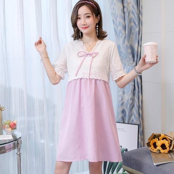 漂亮小媽咪 布蕾絲 小洋裝【D7088】韓系 蕾絲 條紋 短袖 洋裝 孕婦裝 泡泡袖 孕婦洋裝