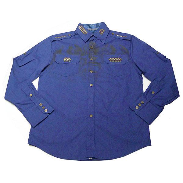 『摩達客』美國進口【Born Sinners】 Sir Lucan 藍時尚長袖設計襯衫(10213071001)