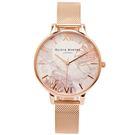 OLIVIA BURTON 愛戀花朵風米蘭帶手錶(OB16VM15)-米色面x玫瑰金/38mm