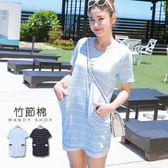 *蔓蒂小舖孕婦裝【M8227】*台灣製.配色口袋條紋洋裝