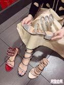跟鞋 2019新款網紅同款蛇形纏繞涼鞋女夏粗跟中跟羅馬綁帶高跟鞋百搭 週年慶8折