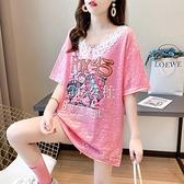 娃娃領上衣 網紅ins超火短袖t恤女夏韓版寬鬆中長款娃娃領亮閃閃大版上衣服潮