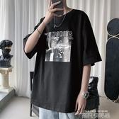 短袖T恤男韓版潮流寬鬆半截袖學生帥氣上衣體恤時尚打底衫bf 依凡卡時尚