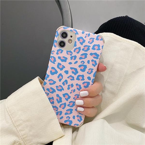 iPhone11ProMax 預購 可掛繩 蘋果手機殼 網紅的粉藍豹紋 矽膠軟殼