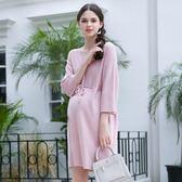 [618好康又一發]孕婦春裝上衣中長款寬鬆V領針織連衣裙套頭孕婦裙
