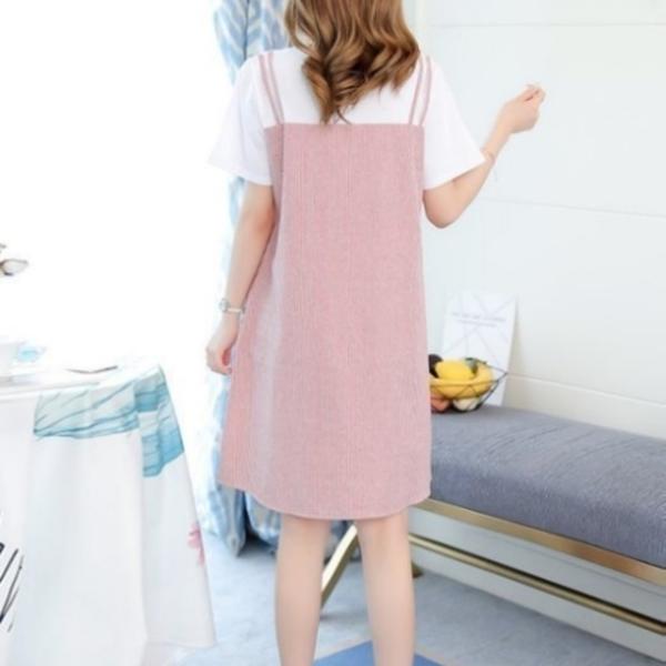 漂亮小媽咪 假兩件 條紋 洋裝 【D2912】 短袖 假二件 連衣裙 孕婦洋裝 假吊帶裙 孕婦裝