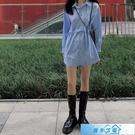 polo衫女 設計感小眾藍色襯衫裙女秋季新款港味復古韓版寬鬆中長款長袖上衣 漫步雲端