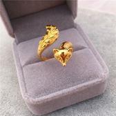 24k鍍金越南沙金不掉色歐幣開口戒指 戒指環狐貍