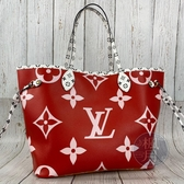 BRAND楓月 LOUIS VUITTON LV M44567 經典 紅色 粉紅色 雙面 拼接 NEVERFULL MM
