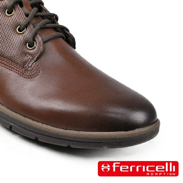 【ferricelli】Koleos網孔壓紋高級男仕休閒短靴  咖啡(F51200-CAP)
