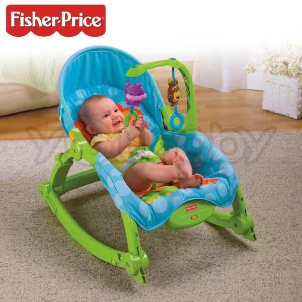 費雪 Fisher-Price 可愛動物可攜式兩用安撫躺椅.搖搖椅 送費雪外出小提袋