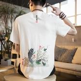 降價兩天 男士短袖 2020新款 中國風男裝 復古半袖t恤寬鬆社會精神小伙上衣服
